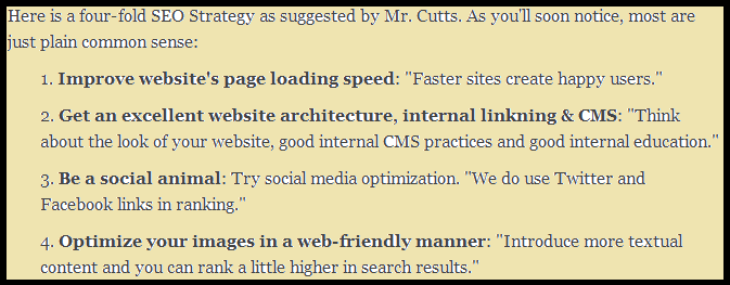 google updates matt cutts advices