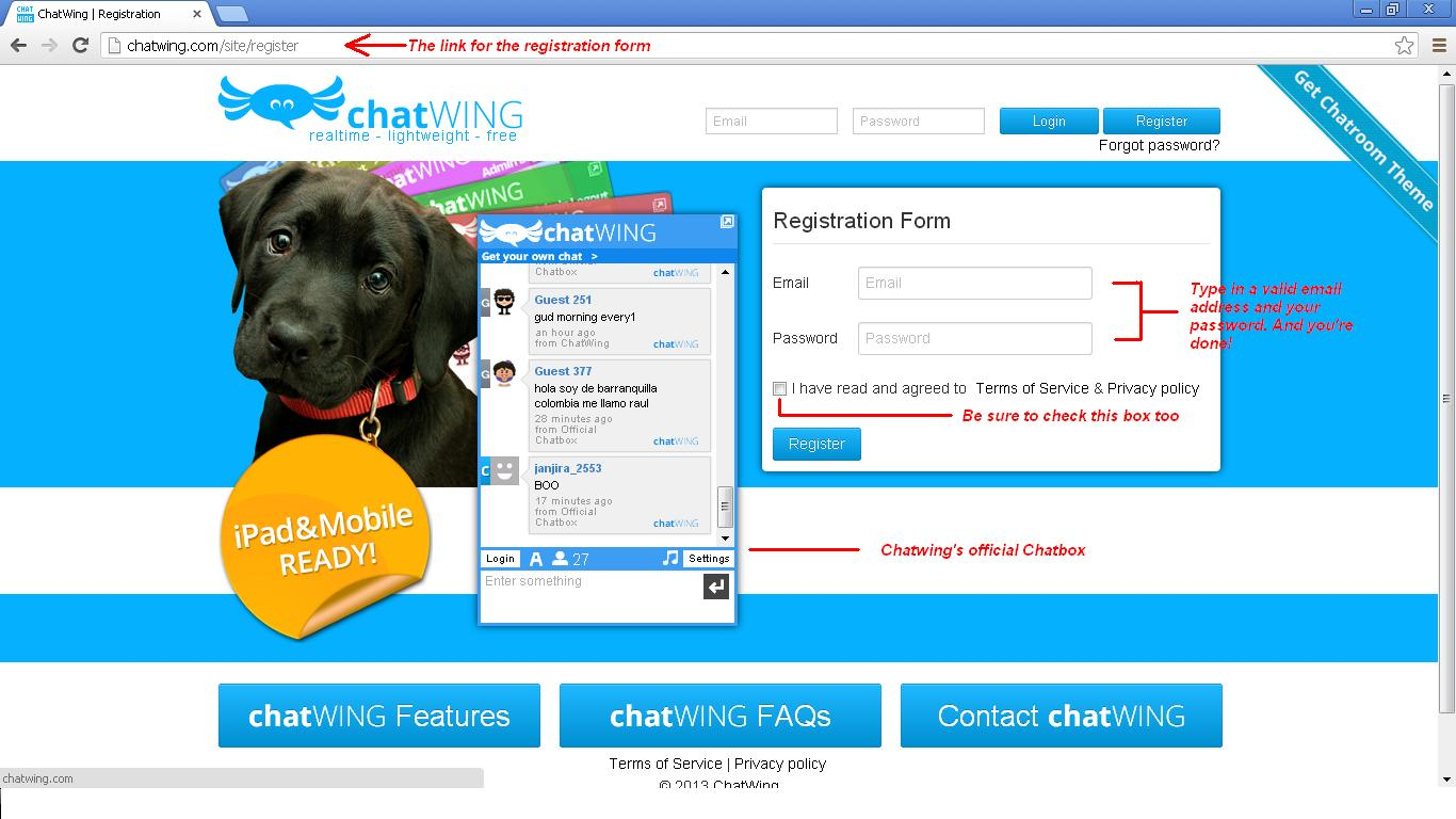 Register chatwing